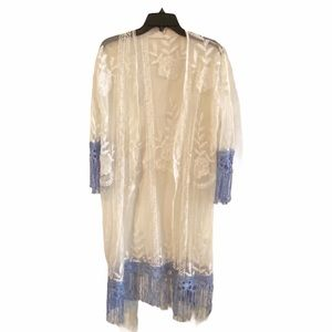 Lace open shawl with blue fringe detail